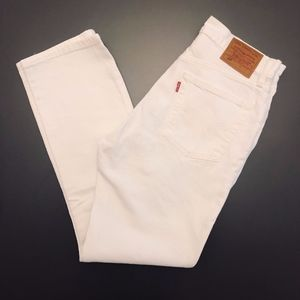 White Levi Strauss Mid Rise Jeans